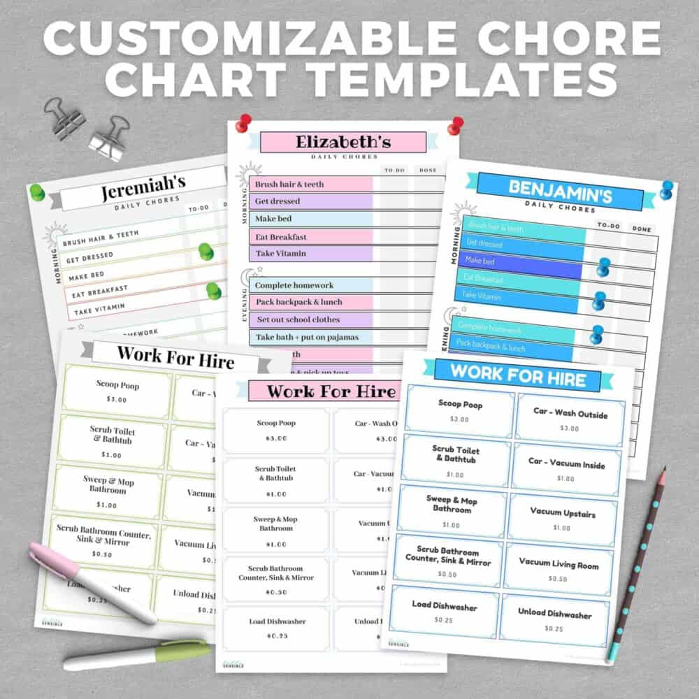 Customizable Chore Chart Templates